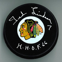 "Ted Lindsay Autographed Chicago Blackhawks Puck w/ ""HOF"""