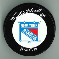 "Clint Smith Autographed Rangers Game Puck w/ ""HOF"""