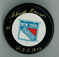 "Chuck Rayner Autographed Game Puck w/ ""HOF"""