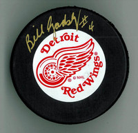 Bill Gadsby Autographed Detroit Red Wings Puck