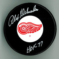 "Alex Delvecchio Autographed Red Wings Puck w/ ""HOF"""