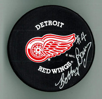 Bobby Baun Autographed Detroit Red Wings Hockey Puck
