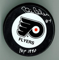 "Bill Barber Autographed Game Puck w/ ""HOF"""
