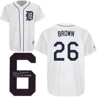 """Gates Brown Autographed Detroit Tigers Jersey w/ """"68 Champs"""" Inscription"""