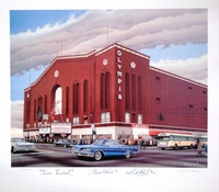 Olympia Stadium Lithograph Autographed by The Production Line: Howe, Lindsay, Abel