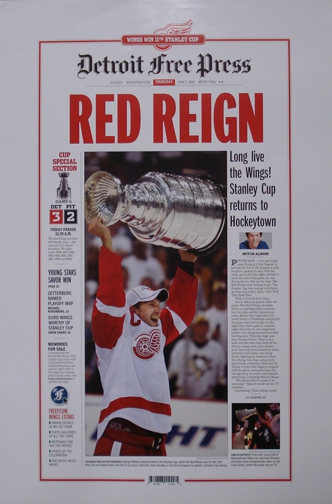 Red Reign 2008 Detroit Red Wings Free Press Poster Detroit City Sports