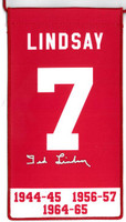 Ted Lindsay Autographed Detroit Red Wings Retirement Banner
