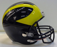 "Lloyd Carr Autographed Michigan Wolverines Deluxe Replica Helmet with ""97 National Champs"" Inscription"