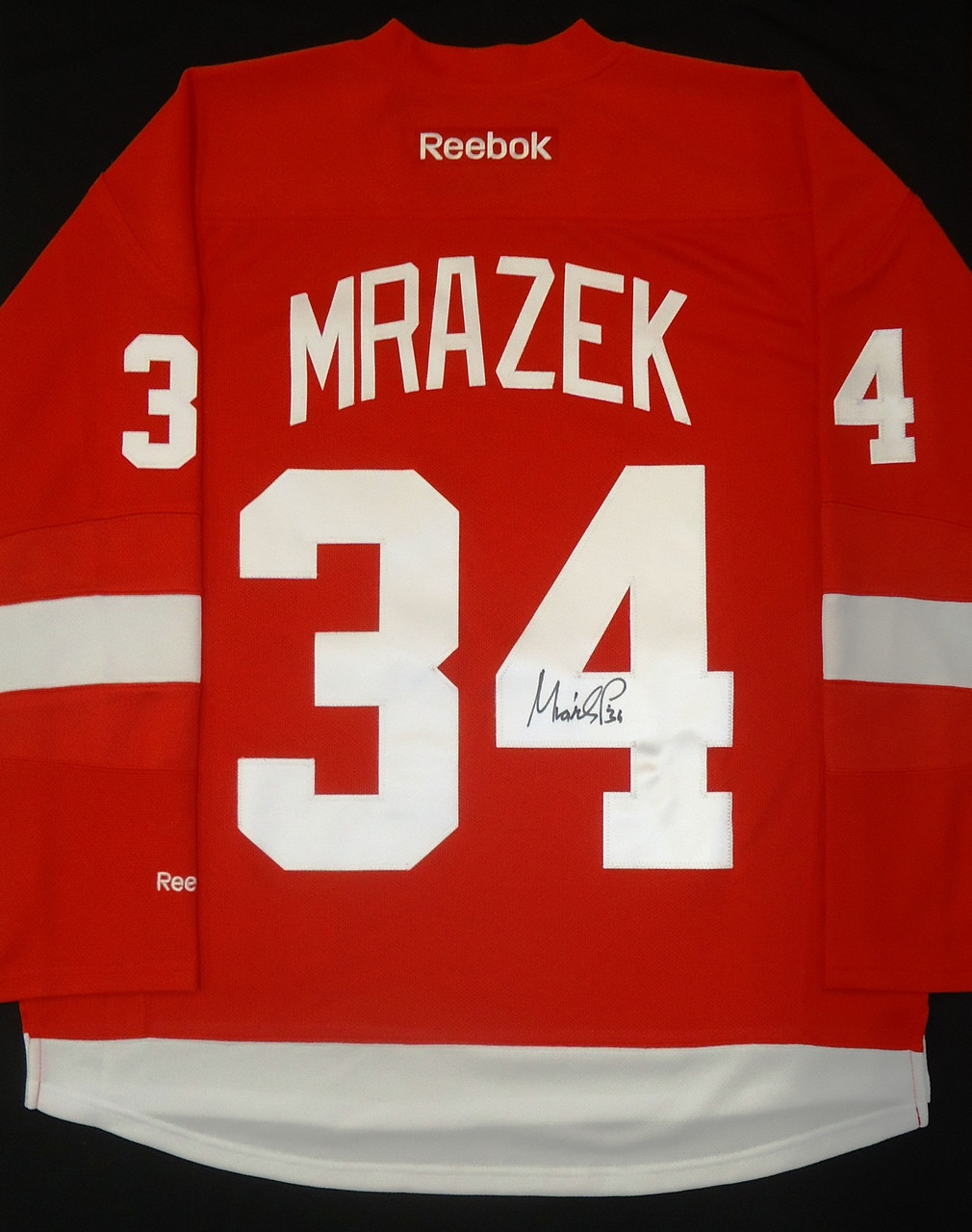 new product 34362 02404 Petr Mrazek Autographed Detroit Red Wings Home Jersey