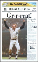 "Kirk Gibson Autographed ""GR-R-REAT!"" 1984 Detroit Tigers Free Press Poster (Pre-Order)"