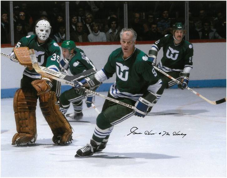 new arrival be812 d8f7a Gordie Howe Autographed Hartford Whalers 11x14 Photo #4 - Action