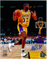 Magic Johnson Autographed LA Lakers 8x10 Photo #14 - 1996 Action