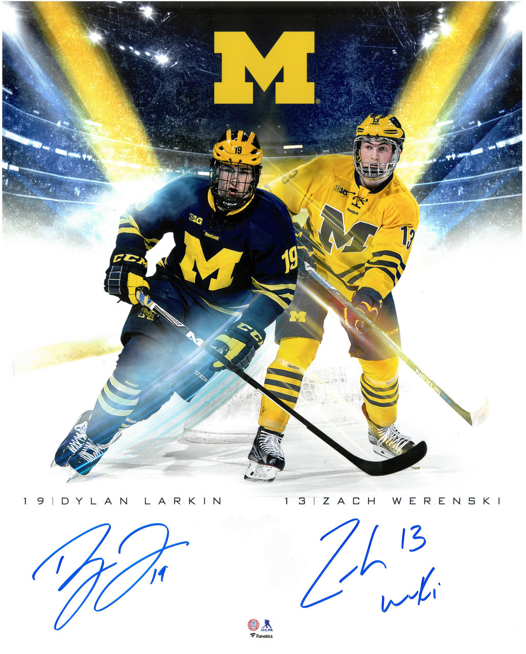 new concept 01f75 f7f11 Dylan Larkin & Zach Werenski Autographed Michigan 16x20 Photo #1