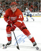 Dylan Larkin Autographed Detroit Red Wings 16x20 Photo #3 - Vertical Home Action