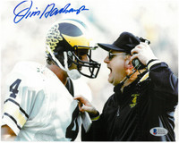 Jim Harbaugh Autographed University of Michigan 8x10 Photo #1 - Jim & Bo