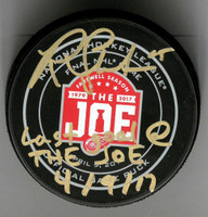 "Riley Sheahan Autographed Farewell to the Joe Official Game Puck Inscribed ""Last Goal At The Joe 4/9/17"""