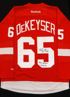 "Danny DeKeyser Autographed Detroit Red Wings Home Jersey Inscribed ""NHL Debut 4/5/13"""