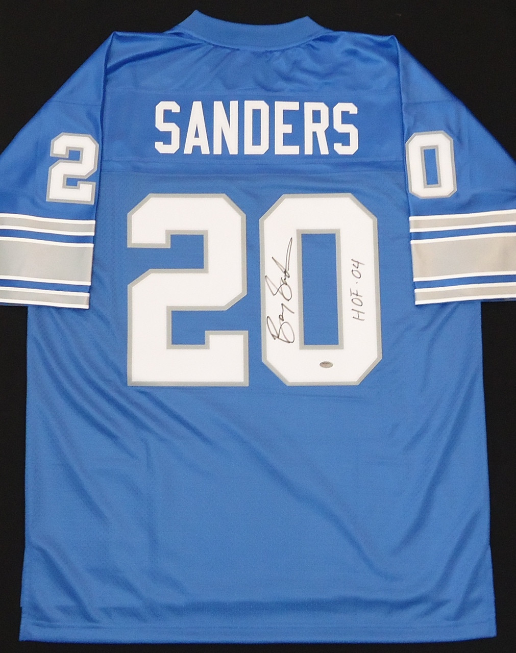 cheap for discount 9283a 63b03 Barry Sanders Autographed Detroit Lions Jersey - Blue Pro Line Inscribed