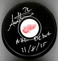 "Andreas Athanasiou Autographed Detroit Red Wings Souvenir Puck Inscribed With ""NHL Debut 11/8/15"""