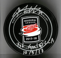 "Anthony Mantha Autographed Little Caesars Arena Official Game Puck Inscribed With ""1st Goal @ LCA 10/5/17"""