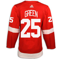 Detroit Red Wings Adidas Authentic Red Jersey - Green #25