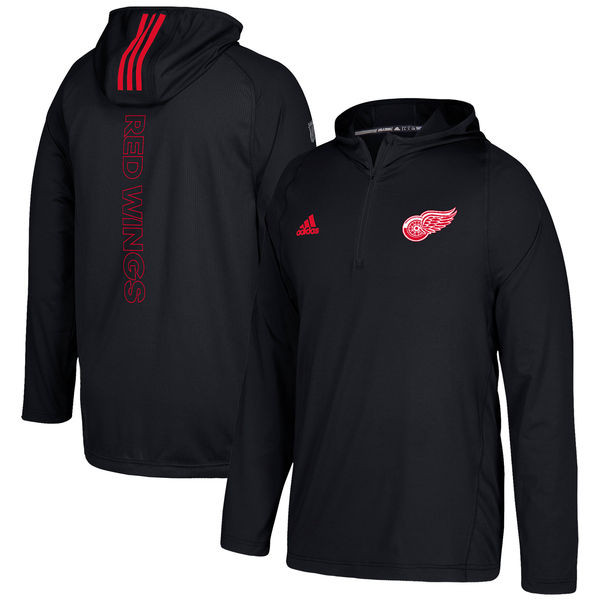 1d54d7ecf ... Detroit Red Wings Men s Adidas Black Authentic Training Quarter-Zip  Pullover Hooded Jacket. Loading zoom