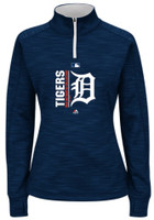 Detroit Tigers Women's Majestic Home Authentic Collection On-Field Team Icon Streak Quarter Zip Sweatshirt