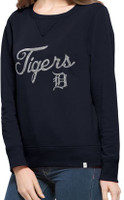 Detroit Tigers Women's 47 Brand Sparkle Cross-Check Crew Neck Sweatshirt