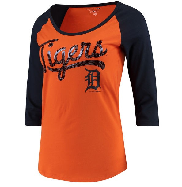size 40 f96b9 d7571 Detroit Tigers Women's 5th & Ocean Baby Jersey 3/4-Sleeve Raglan T-Shirt