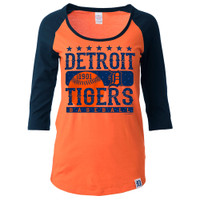 Detroit Tigers Women's 5th & Ocean Orange Raglan Tshirt With Gems