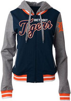 Detroit Tigers Women's 5th & Ocean French Terry Contrast Sleeves Full-Zip Hoodie Jacket