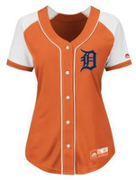 Detroit Tigers Women's Majestic Orange Fan Fashion Jersey