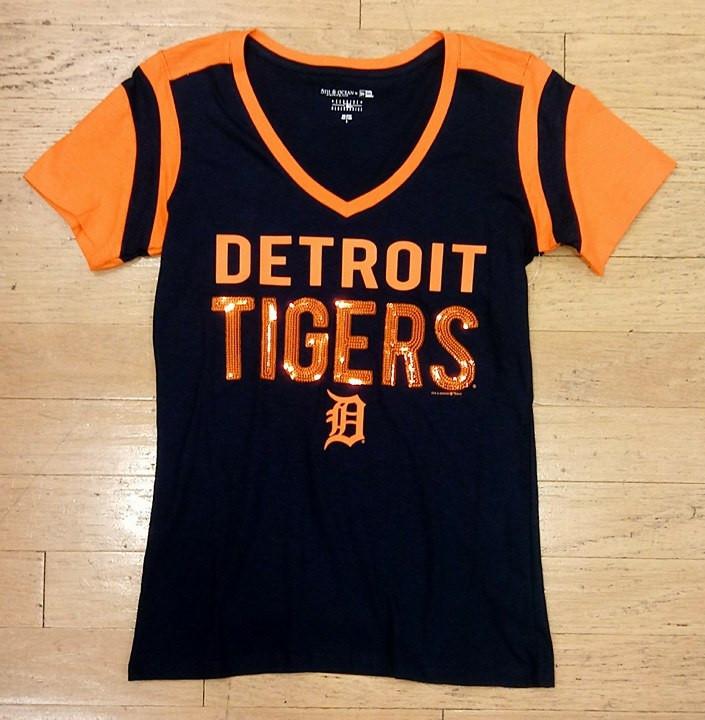 the latest 3af14 6255d Detroit Tigers Women's 5th & Ocean Navy & Orange Sequins V-Neck T-Shirt