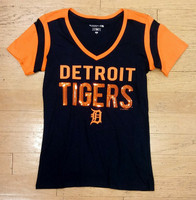 Detroit Tigers Women's 5th & Ocean Navy & Orange Sequins V-Neck T-Shirt
