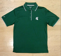 Michigan State University Men's Antigua Elite Green Polo with White Accents