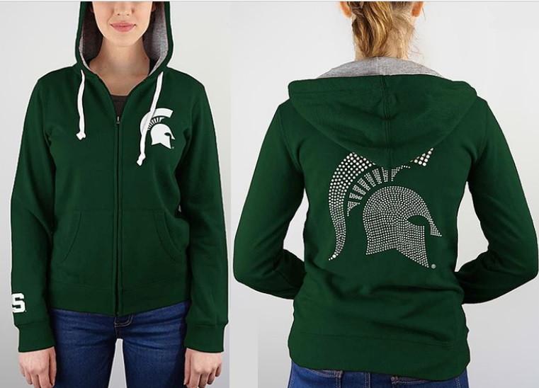 Michigan State University Women's e5 Rhinestone Full Zip Hoodie