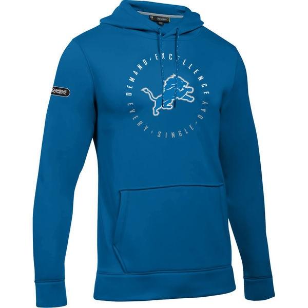 detailed look c1699 08d23 Detroit Lions Men's Under Armour Blue Combine Hoodie