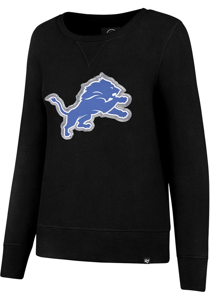sports shoes 423de dcab4 Detroit Lions Women's 47 Brand Black Crewneck Sweatshirt with Sequins