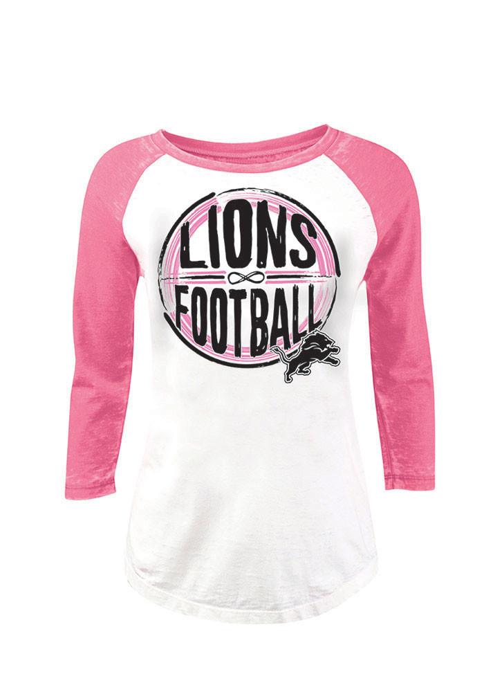 super popular 52c71 486ee Detroit Lions Women's NFL Team Apparel 3/4 Length Sleeve Pink & White Shirt