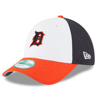 Detroit Tigers Men's New Era White/Orange Perforated Block 9FORTY Adjustable Hat