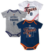 Detroit Tigers Majestic Kid's 3 Piece Bodysuit Set