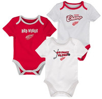 Detroit Red Wings Newborn NHL Baby Apparel 3 Piece Creeper Set