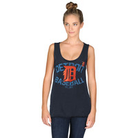 Detroit Tigers Women's 5th & Ocean Navy Slub Jersey Raw Edge Tank Top