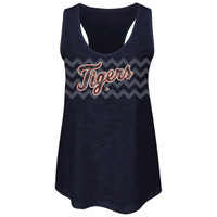 Detroit Tigers Women's Majestic Navy Blue Baseball Dreamer Sequins Tank Top