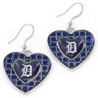 Detroit Tigers Aminco International Blue Glitter Stone Heart Earrings