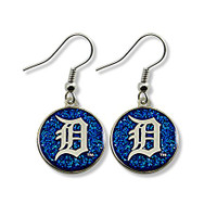 Detroit Tigers Aminco International Dangle Blue Glitter Circle Earrings