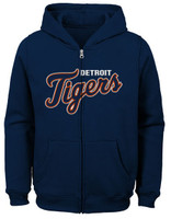 Detroit Tigers Child Outerstuff Navy Wordmark Full-Zip Hoodie