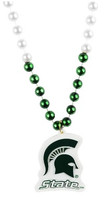 Michigan State University Rico Industries Mardi Gras Beads with Medallion Necklace