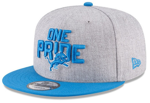 the latest f401a ef483 ... Detroit Lions New Era Heather Gray Blue 2018 NFL Draft Official  On-Stage 9FIFTY Snapback Adjustable Hat. Image 1. Loading zoom