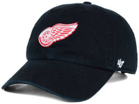 Detroit Red Wings Men's 47 Brand Black Clean Up Adjustable Hat